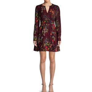 Parker Brooke Floral Ruffle Silk Blend Dress NWOT